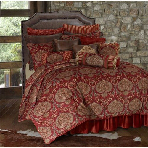 "Hiend Accents Fb3838-sk-occ Lorenza 110"" X 96"" King Rustic Coll Comforter Set In Red/gold"