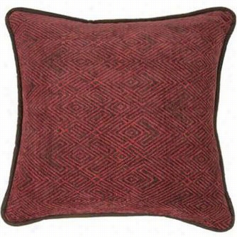 Hiend Accents Lg1849p1 Wilderness Ridge Chenille Pillow I Red With Faux Elather Backing