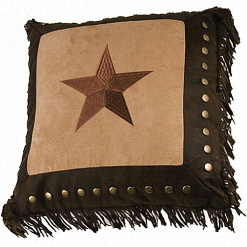 Hiend Acents Pl3111 Luxury Star Embroidery  Star Pillow In Brown/tan