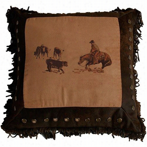 Hiend Accents Pl3115 Embroidered Cutting Horse Pillow In Hcocolatet/an