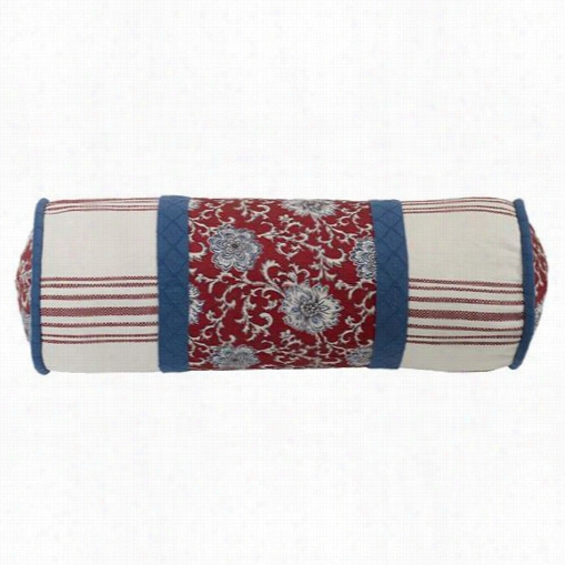 Hiend Accents Ws4011p7 Bandwra Floral Neck Roll With Blue And Red Wale Accwnts