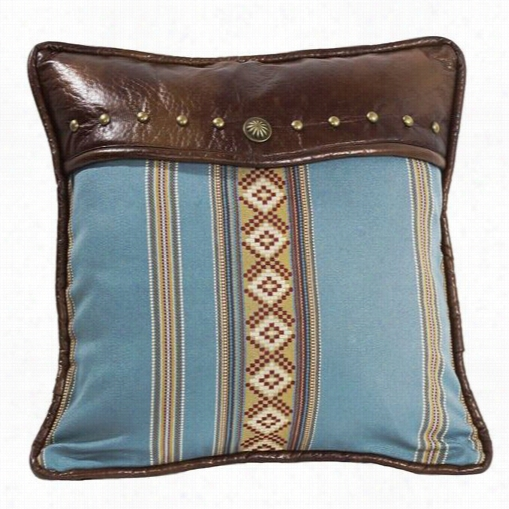 Hiend Language Ws4066p3 Ruidoso Square Bluee Striped Pillow Int Urquoise/brown With Studs