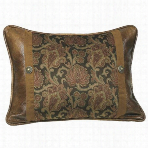 Hiend Language Ws4068p3 Austin  Rectangular Pillow In Pice Red/brown With Printed Velvet And Rustic Faus Leather