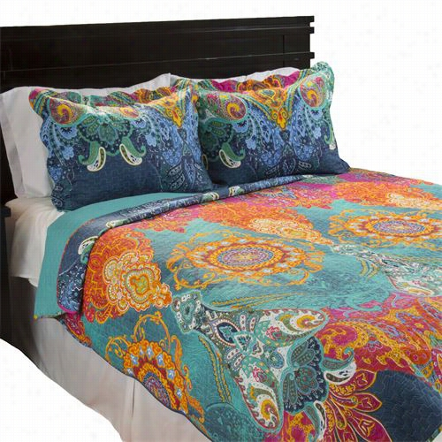 Lavish Home 66-1005-fq Full/queen 3 Piece Iona Quilt Flow In Green