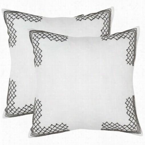 "Safavieh Dec471a-2020-set2 Edgy Metals 20"" Gunmetal Decorative Pillows - Set Of 2"