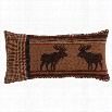 """HiEnd Accents LG1905P4 Bayfield 11"""" x 21"""" Oblong Houndstooth and Moose Pillow in Brown/Tan"""