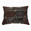 HiEnd Accents PL4103 Navajo Scalloped Chenille Pillow in Blue/Brown