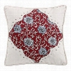 HiEnd Accents WS4011P1 Bandera Floral Pillow in Red/Vintage White with Scalloped Corners