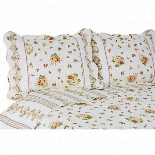 Pegasus Home Fashions 4500vcblo-4k Vintage Bbloomfield King Reversible Quilt/sham Set