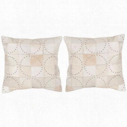 """Saffavieh Dec214a-22222-set2 Phoebe 22"""" White Witj Studd Decorative Pllows - Set Of 2"""