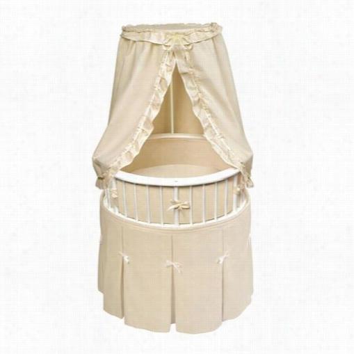 Badger B Askets 00830 White Elegance Round Baby Bassimet With Ecru Waffle Bedding