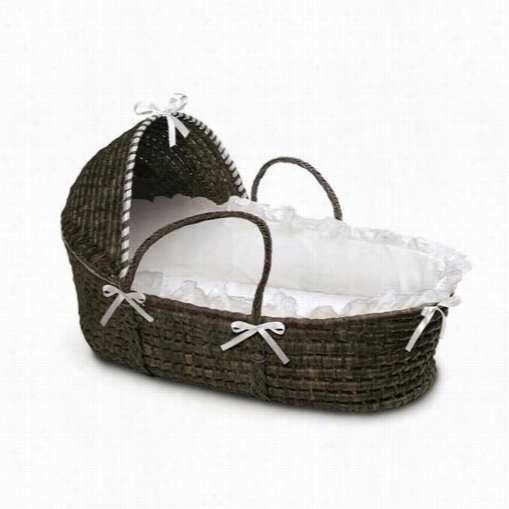 Badger Baskets 00962 Espresso Moses Ba$ket With Hood And  White Bedding