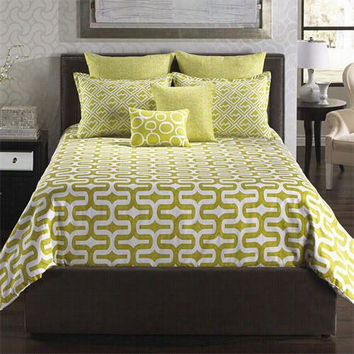 Hallmart Collectibles 67153 Angelk:home Usa Mod Citron 6 Piece Queen Comforter With  F Iller Set