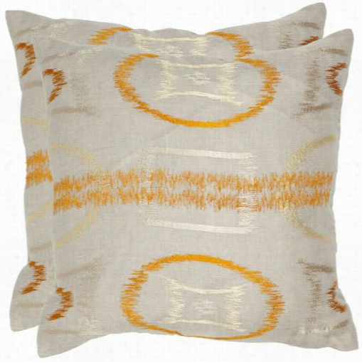 "Safavieh Dec306a-2222-set2 Reese 22"" Orange Decorative Pillows -  Set Of 2"