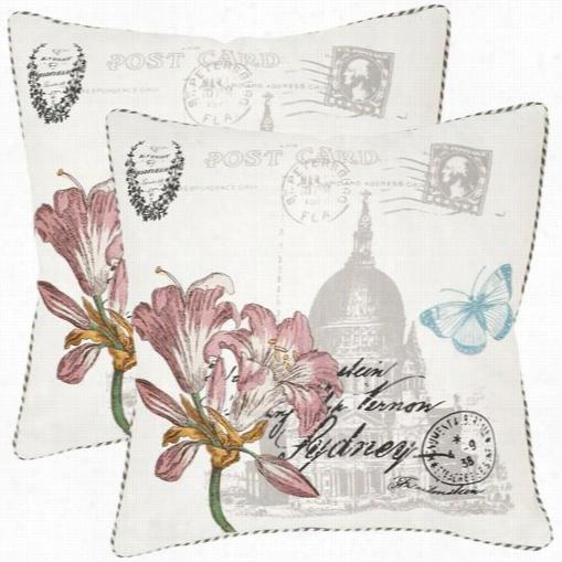"""Safavieh Pil909a-2222-set2 Gloria 22"""" Decorative Pillows In White - Set Of 2"""