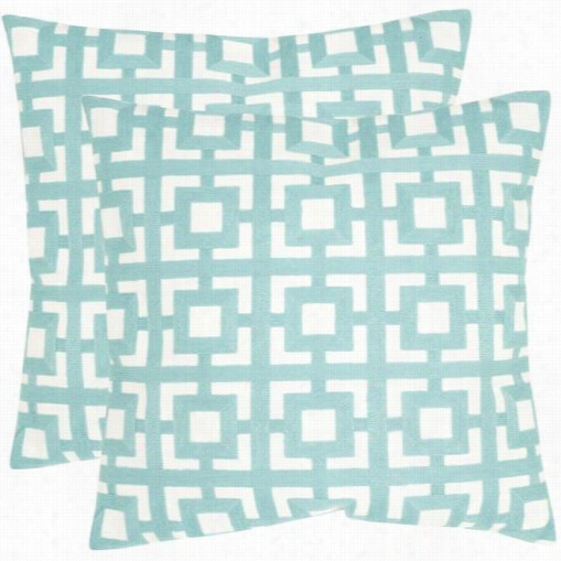 Safavieh Pil912a-2222-set2 Emily 22&uot; Decorative Pillows In Turquoise - Set Of 2