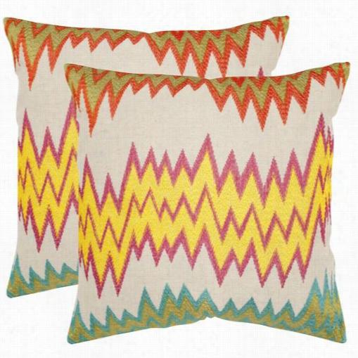 "Safavieh Pil923a-2122-set2 Ashley 22"" Decorativs Pillows In Neon/golden - Set Of 2"