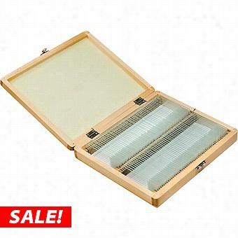Barsak Set Of 100 Prepaed Microscope Slides W/wood Case