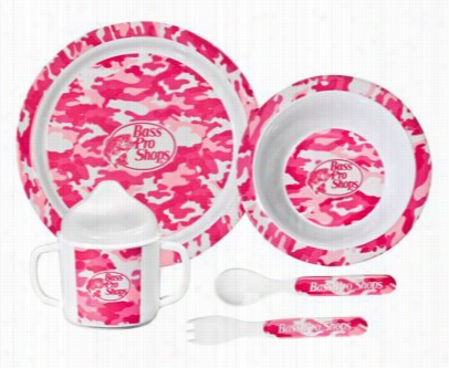 5-piece Dining Set For Kids - Pink Camo