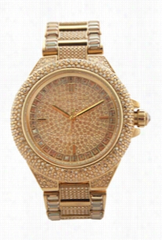 Mk5720 Camile Crystal-covered G Old-tone Stainless Steel Bracelet Watch