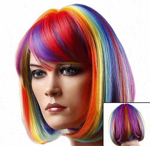 Colored Wigs - Rainbow Multi-col0red Wig