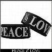 Peace & Love Designer Rubber Saying Bracelet