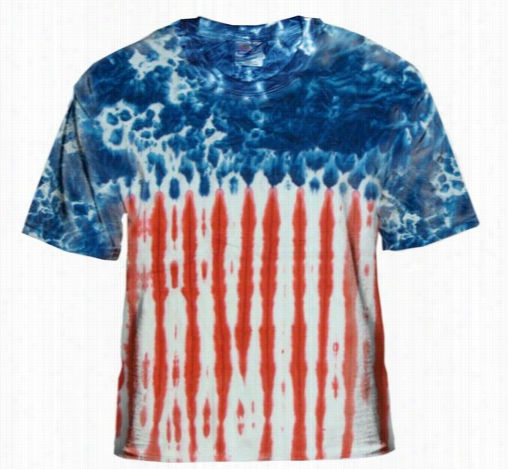 Premium Hand Made Ttie Dye T-shirts - U.s.a. Flag Tie Dye T-shirt