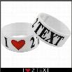 I Love 2 TEXT Designer Rubber Saying Bracelet (White)