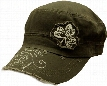Irish Shamrock Vintage Military Cadet Hat (Olive Green)