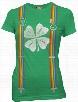 Ladies Kiss me I'm Irish St. Patrick's Day Rainbow Suspender Shirt
