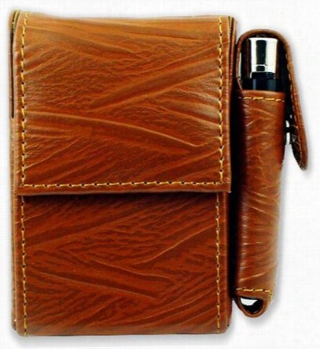 Deluxe Distressed Leather Cigarette And Lighter Case F(or Regularss)