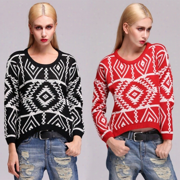 09d1036e25 New Women Knit Loose Sweater G Eometry Design Printed Long Sleeve Pullovers  Biig Size