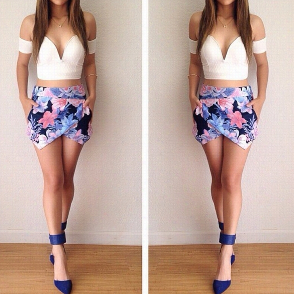 Stylish Lady Wome Nnew Fashion Slee Veless Strapless Sexy Two Piece Pantskirt  Culotes And Top