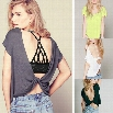 Best Sale New Stylish Lady Women Fashion O-Neck Sexy Loose Backless Cross Tops Blouse