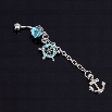 Navel Belly Button Ring Nautical Anchor Crystal Rhinestone Wheel Dangle Piercing