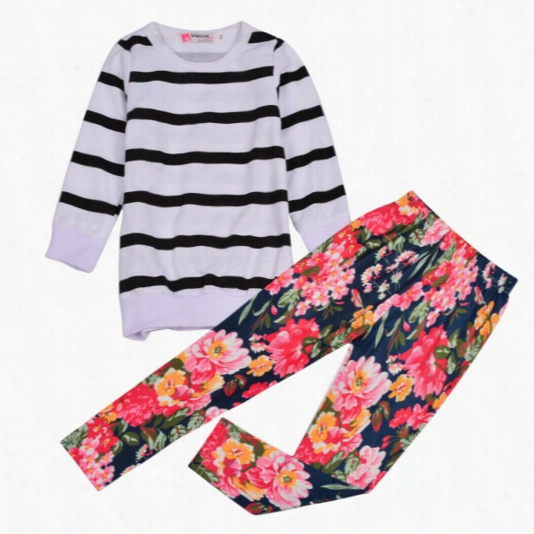 a37fdf827eb Nes Cute Kids Girls Leegant Two Pieces O-neck Long Sleeve Striped Hoodie  Sweat Tops