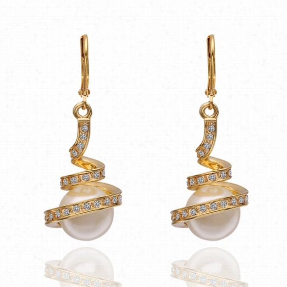 E462  Wholesale Nickle Free Antiallrgic 18k Real Gold P Latef Earrings For Women New Fashion Jewelry Free Shipping