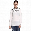 Finejo Women Casual Stand Neck Long Sleeve Striped Patchwork Blouse Tops