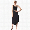 Finejo Women Fashion Slim Sexy Sleeveless Sheer Mesh Patchwork Stretch Irregular Long Dress
