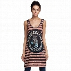 New Stylish Ladies Women Casual Long Sleeve Round Neck Zebra Printing Long Vest Tops