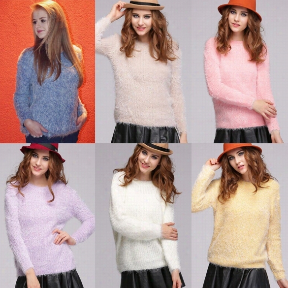 Women's Stylish Mohair Pure Candy Color Knitted Pullover Sweet Casual Sweater Outwear