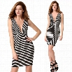 High Quality Stylish Lady Women's New Fashion Sexy Deep V-Neck Sleeveless Striped Dress