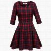 Meaneor Women Casual O-Neck Half Sleeve Plaid Print High Waist A-Line Mini Dress