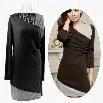 New Women Splicing Color Crossover False One-shoulder Mini Dress Tops