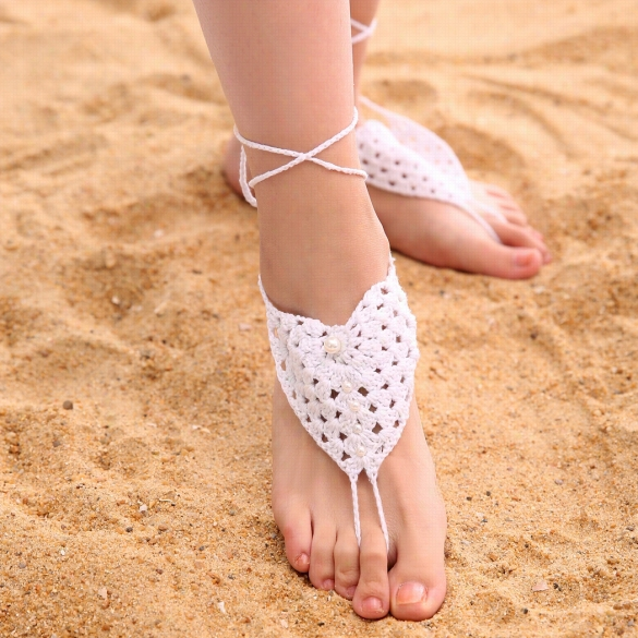 Fashion Women Hand-made Knit Ccrochet Adjustable Anklets Beach Barefoot Anklets With Beaads