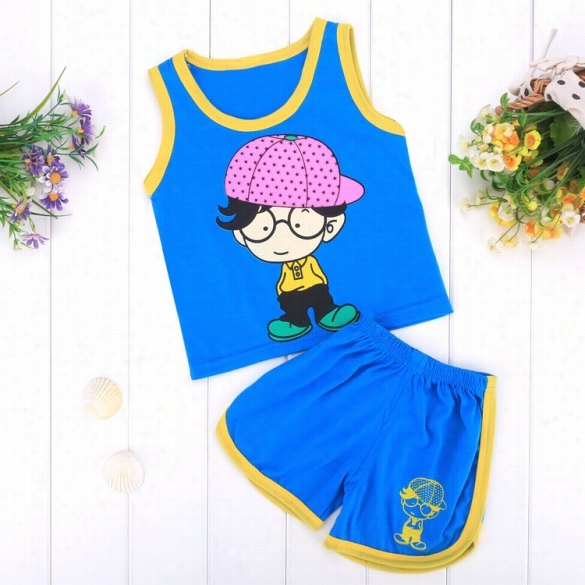New Cute Baby Kids Two Pieces O-neck Sleeveless Cool Tak Top And Elastic Waist Shorts