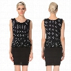 Angvns Stylish Lady Women's Fashion Sleeveless O-Neck Polka Dot Falbala Elegant Dress