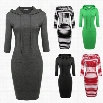 "ANGVNS Women Ladies Hooded 3""4 Sleeve Pure Color Stretch Bodycon Slim Casual Knee Length Dress"