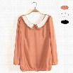 New Sweet Women's Girl Doll Collar Long Sleeve Bowknot Chiffon Shirt Blouse 3 Colors