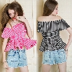 New Women Sexy Off Shoulder Flouncing Hem Striped Casual Tops Blouse